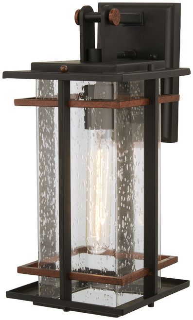 Minka Lavery San Marcos 1 Light Wall Mount in Black with Antique Copper Accents Finish and Clear Seeded Glass