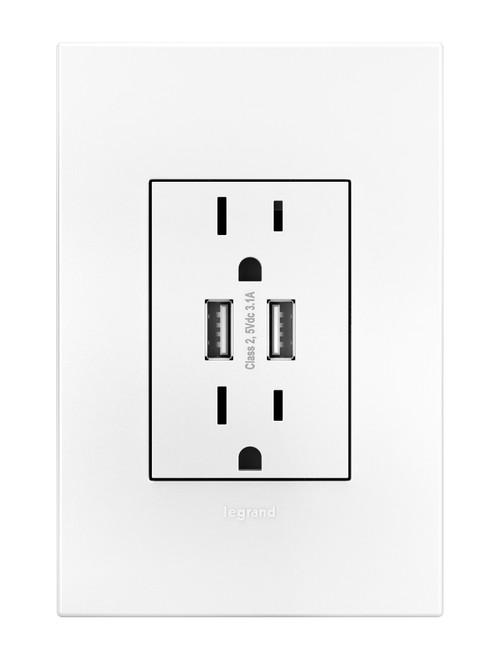 Legrand adorne 15A Dual USB Plus-Size Tamper-Resistant Outlet