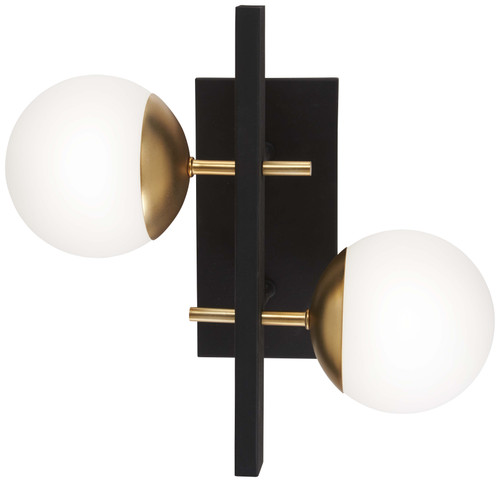 George Kovacs Alluria Duo 2 Light Wall Sconce in Weathered Black with Autumn Gold