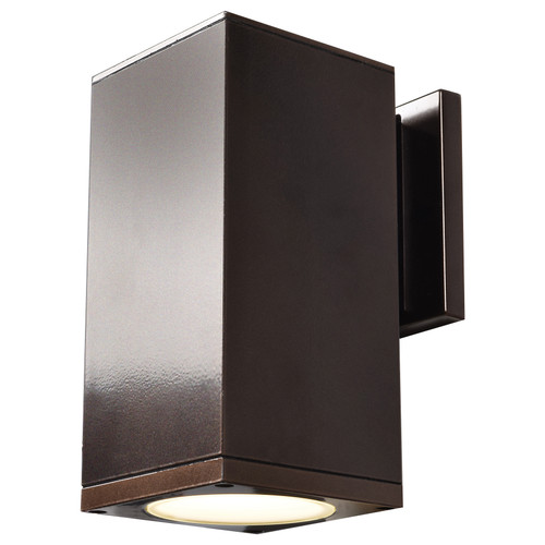Access Lighting Bayside Collection Outdoor Square Cylinder Wall Fixture in Bronze Finish