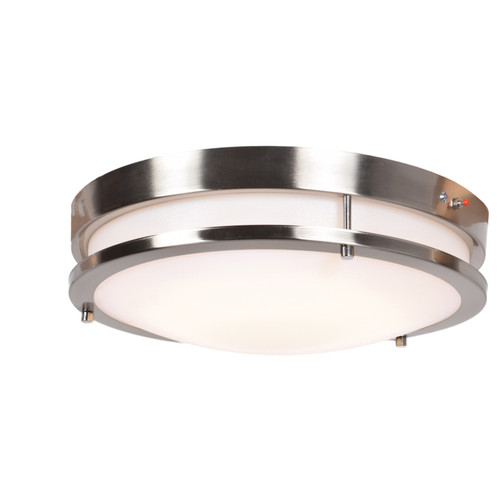 Access Lighting Solero Collection 120-277v Emergency Backup LED Flush Mount in Brushed Steel Finish