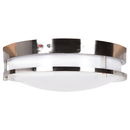 Access Lighting Solero Collection Emergency Backup LED Flush Mount in Brushed Steel Finish