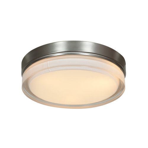 Access Lighting Solid Collection Dimmable LED Flush Mount in Brushed Steel Finish