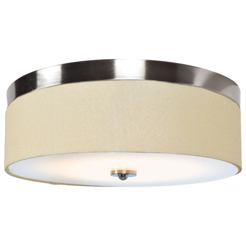 Access Lighting Mia Collection LED Flush Mount with Fabric Shade in Brushed Steel Finish