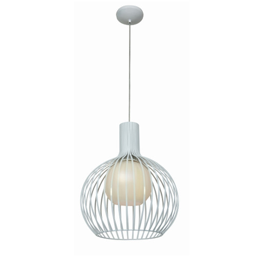 Access Lighting Chuki Collection Metal Ribbed Pendant in White Finish