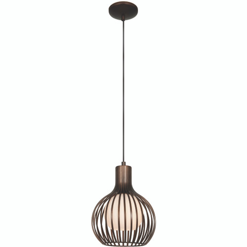 Access Lighting Chuki Collection Metal Ribbed Pendant in Bronze Finish