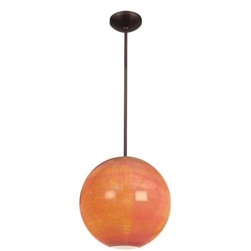 Access Lighting Safari Opaline Collection Glass Ball Pendant in Bronze Finish