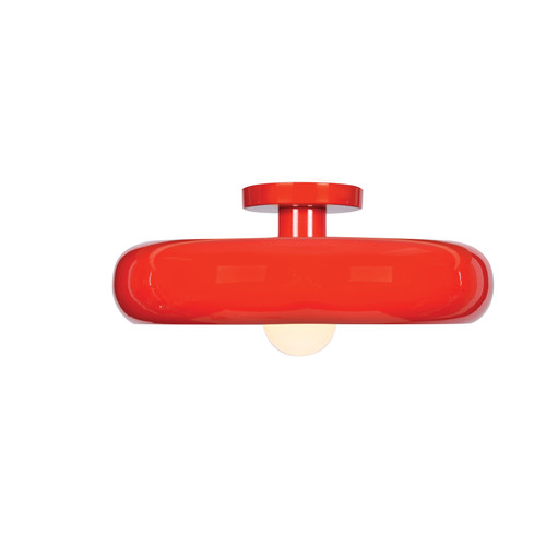 Access Lighting Bistro Collection Round Colored LED Semi Flush Mount in Red and Silver Finish