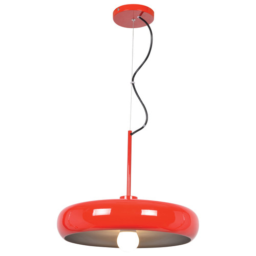 Access Lighting Bistro Collection Round Colored LED Pendant in Red and Silver Finish