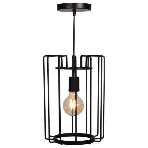 Access Lighting Wired Collection 1-Light Vertical Cage Pendant in Black Finish