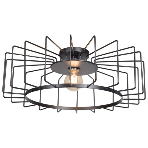 Access Lighting Wired Collection 1-Light Horizontal Cage Flush Mount in Black Finish