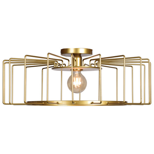 Access Lighting Wired Collection 1-Light Horizontal Cage Flush Mount in Gold Finish