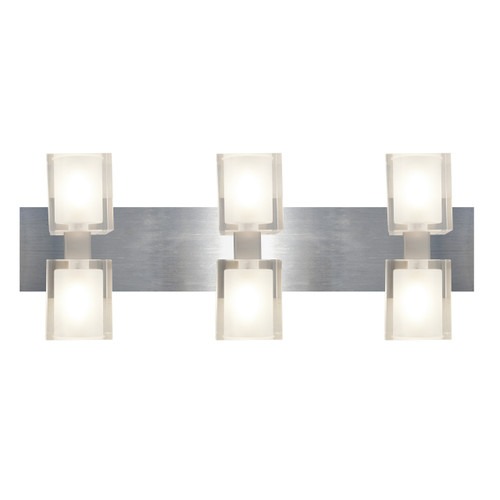 Access Lighting Astor Collection 6- Light Crystal Wall & Vanity Fixture in Brushed Steel Finish
