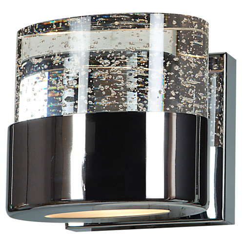 Access Lighting Bubbles Collection Solid Crystal 1-Light LED Vanity with OPL glass downlight in Chrome Finish