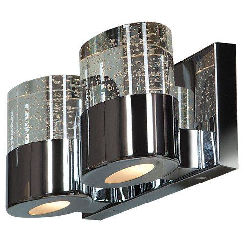 Access Lighting Bubbles Collection Solid Crystal 2-Light LED Vanity with OPL glass downlight in Chrome Finish
