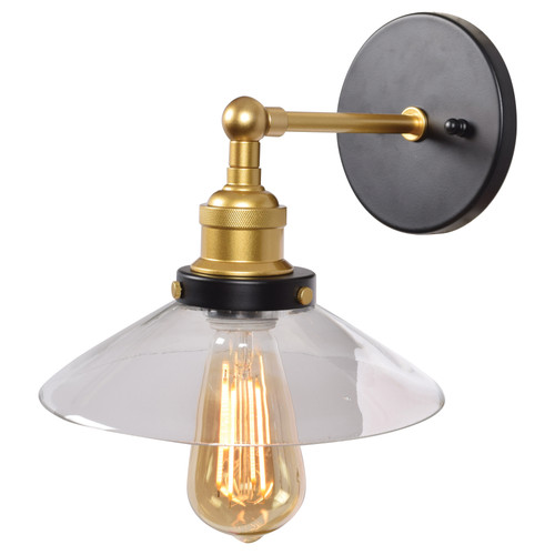 Access Lighting The District Collection 1-Light Retro Wall Sconce in Black and Gold Finish