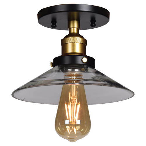 Access Lighting The District Collection 1-Light Retro Semi-Flush in Black and Gold Finish
