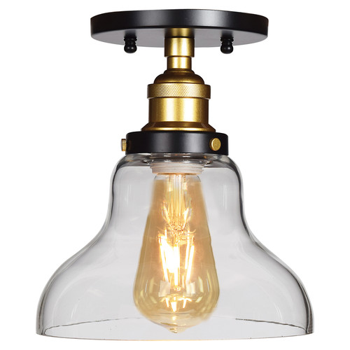 Access Lighting The District Collection 1-Light Retro Semi-Flush with Bowl Glass Shade in Black and Gold Finish