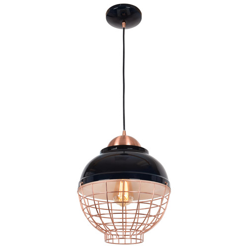 Access Lighting Dive Collection 1-Light Pendant with Bottom Cage in Shiny Black and Copper Finish