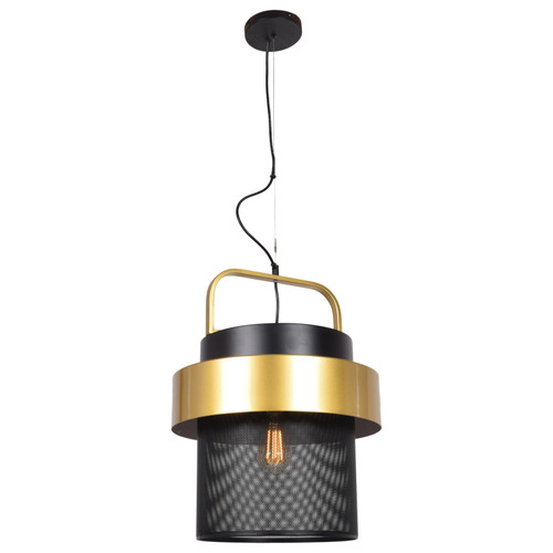 Access Lighting Fusion Collection 1-Light Mesh Screen Pendant in Black and Gold Finish