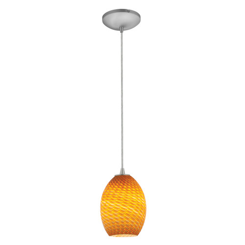 Access Lighting Brandy FireBird Collection 1-Light Pendant in Brushed Steel Finish