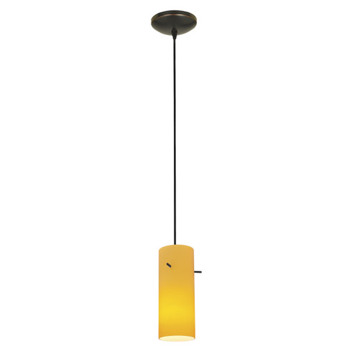 Access Lighting Cylinder Collection 1-Light Pendant in Oil Rubbed Bronze Finish