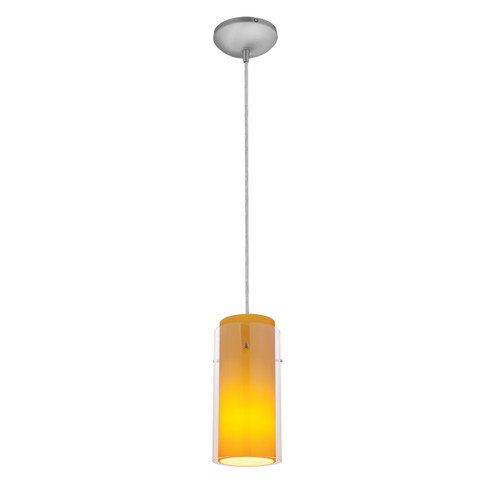Access Lighting Glass`n Glass Cylinder Collection 1-Light Pendant in Brushed Steel Finish