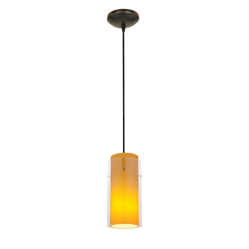 Access Lighting Glass`n Glass Cylinder Collection 1-Light Pendant in Oil Rubbed Bronze Finish