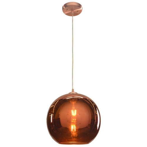 Access Lighting Glow Collection Mirrored Glass Pendant in Brushed Copper Finish