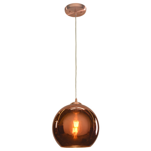 Access Lighting Glow Collection Mirrored Glass Dimmable LED Pendant in Brushed Copper Finish