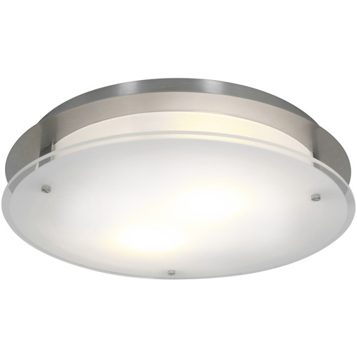 Access Lighting Vision Round Collection Dimmable LED Flush Mount in Brushed Steel Finish