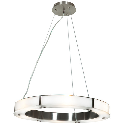 Access Lighting Oracle Collection Cable Ring Glass Dimmable LED Chandelier in Brushed Steel Finish