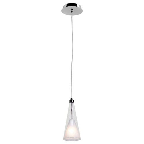 Access Lighting Icicle Collection Fused Clear & Opal Glass Pendant in Chrome Finish