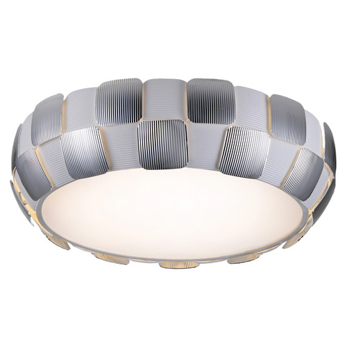 Access Lighting Layers Collection Dimmable LED Flush Mount in White with Chrome Finish