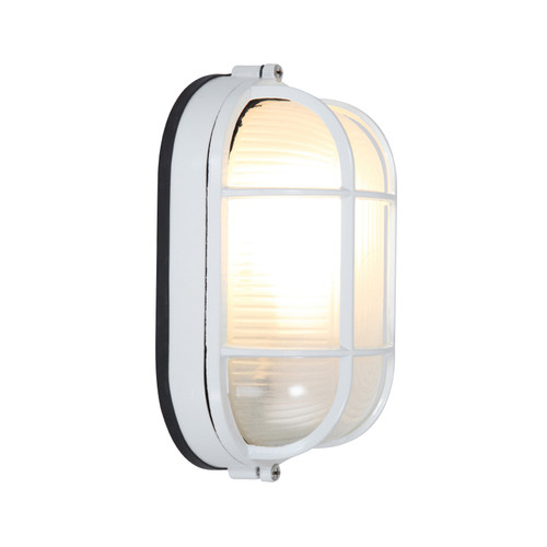 Access Lighting Nauticus 1 Light Outdoor Bulkhead in White with Frosted Glass, 20290-WH/FST