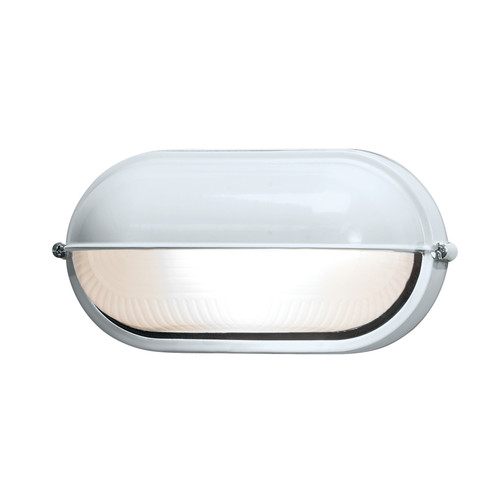 Access Lighting Nauticus 1 Light Outdoor LED Bulkhead in White with Frosted Glass, 20291LEDDLP-WH/FST