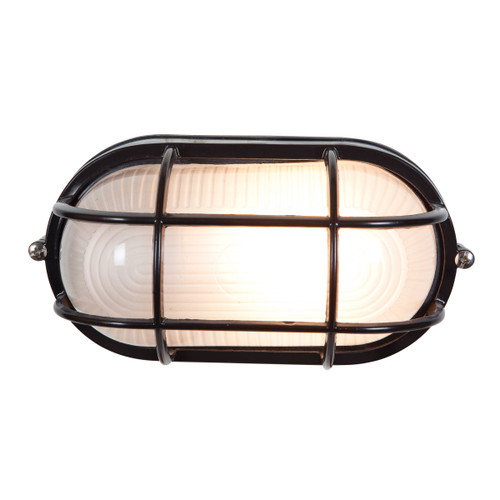 Access Lighting Nauticus 1 Light Outdoor LED Bulkhead in Black with Frosted Glass, 20292LEDDLP-BL/FST
