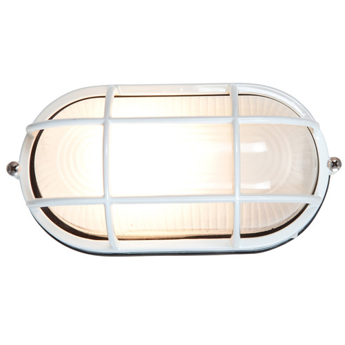 Access Lighting Nauticus 1 Light Outdoor LED Bulkhead in White with Frosted Glass, 20292LEDDLP-WH/FST