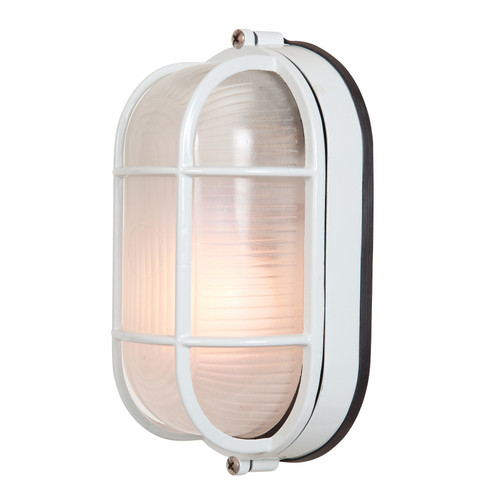 Access Lighting Nauticus 1 Light Outdoor Bulkhead in White with Frosted Glass, 20292-WH/FST