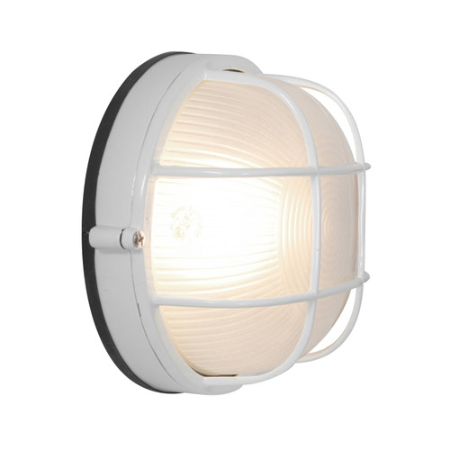 Access Lighting Nauticus 1 Light Outdoor Bulkhead in White with Frosted Glass, 20294-WH/FST