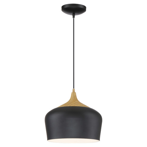 Access Lighting Blend Collection 1 Light Cord Pendant in Black with Wood Grain Finish