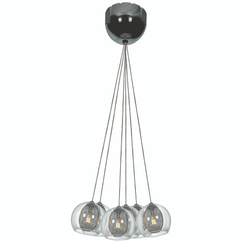 Access Lighting Aeria Collection 7 Light Metal Foil Encapsulated In Clear Glass Pendant in Chrome Finish