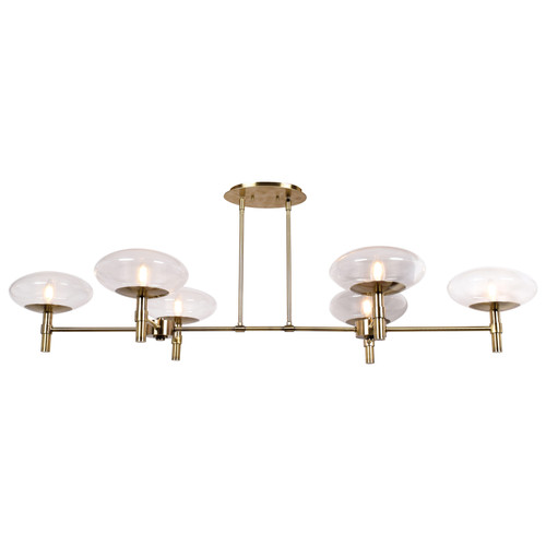 Access Lighting Grand Collection 6-Light Linear Chandelier in Brushed Brass Finish