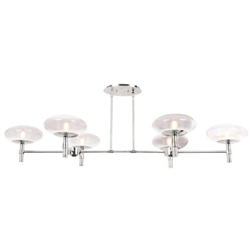 Access Lighting Grand Collection 6-Light Linear Chandelier in Brushed Steel Finish