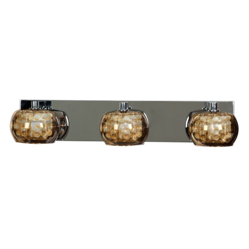 Access Lighting Glam Collection 3-Light Mirror Glass Vanity in Chrome Finish
