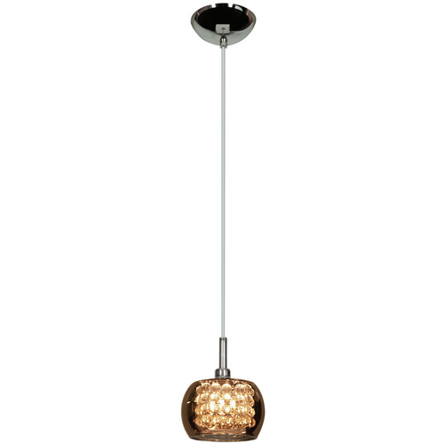 Access Lighting Glam Collection 1-Light Dimmable LED Mirror Glass Pendant in Chrome Finish