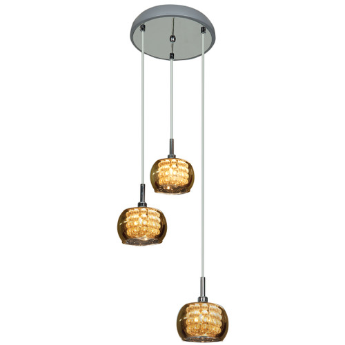 Access Lighting Glam Collection 3-Light Mirror Glass Pendant in Chrome Finish