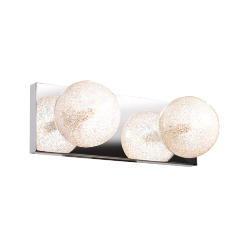 Access Lighting Opulence Collection 2-Light Glitter Glass Vanity in Mirrored Stainless Steel Finish