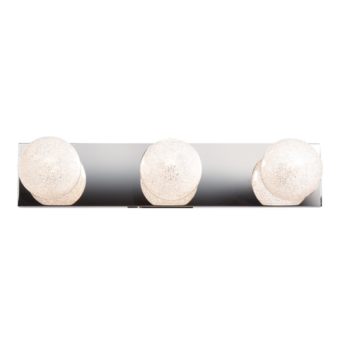 Access Lighting Opulence Collection 3-Light Dimmable LED Glitter Glass Vanity in Mirrored Stainless Steel Finish