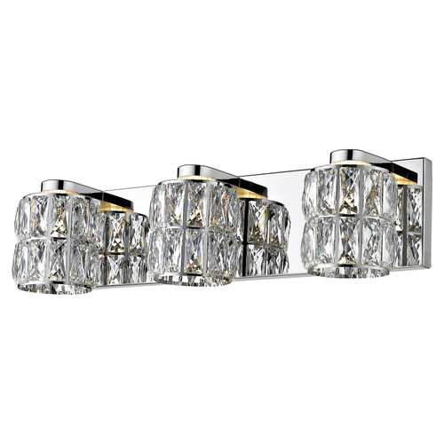 Access Lighting Ice Collection 3-Light Crystal Vanity in Mirrored Stainless Steel Finish